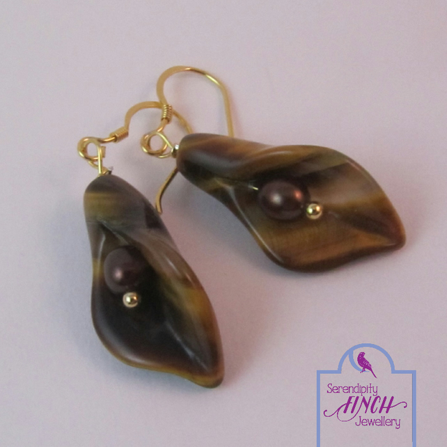 Tiger's Eye Calla Lily Earrings, Gold Plated Silver Earrings, Flower Earrings