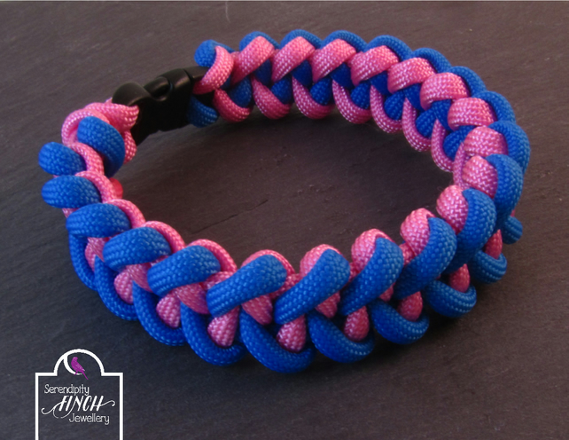 Blue Pink Paracord Bracelet, Shark Jaw Bone Paracord Bracelet