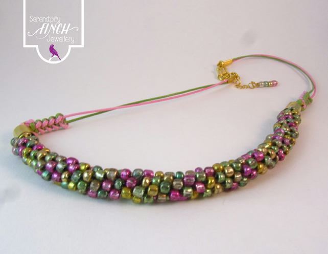 Pink Green Beaded Kumihimo Necklace
