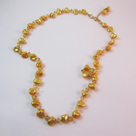 Yellow Pearl Citrine Necklace, Pearl Knotted Necklace, Pearl Necklace