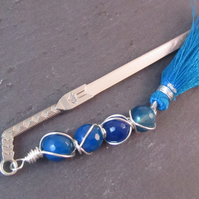 Blue Faceted Agate Wire Wrapped Sword Bookmark, Fantasy Bookmark, Blue Bookmark