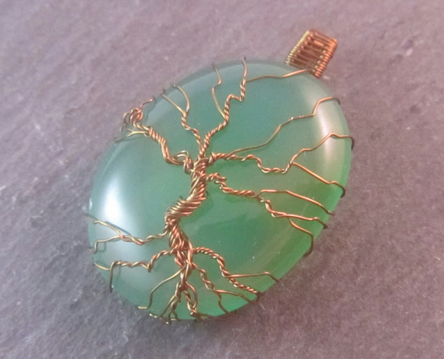 Green Onyx Tree of Life Pendant, Green World Tree Pendant