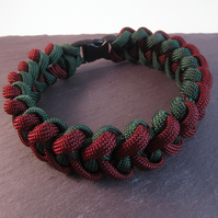 Green Burgundy Paracord Bracelet, Shark Jaw Bone Paracord Bracelet