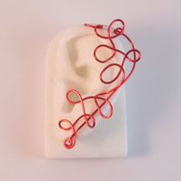 Squiggle Red Wire Ear Cuff,  Red Ear Cuff