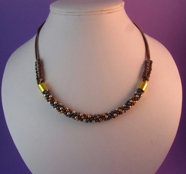 Brown Kumihimo Beaded Necklace, Metallic Necklace, Kumihimo Necklace