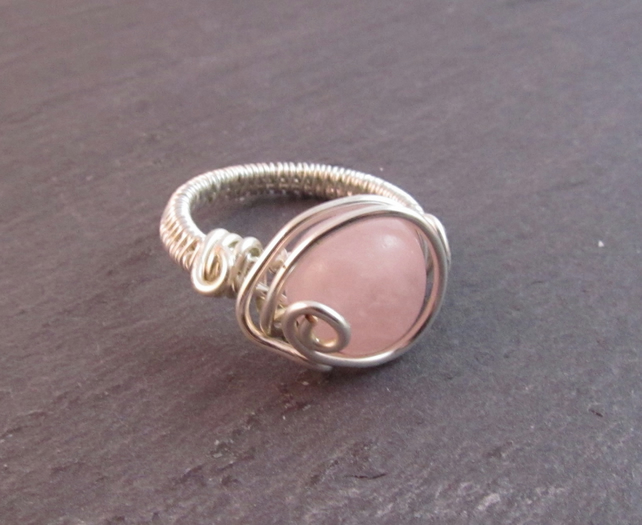 Rose Quartz Ring, Wire Wrapped Ring, Pink Ring