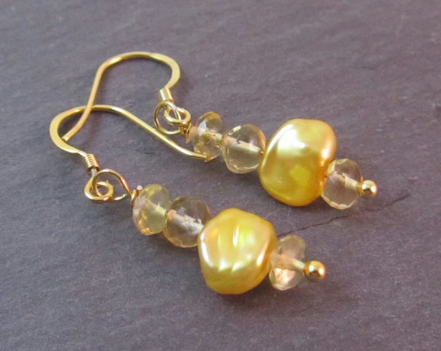 Yellow Pearl Citrine Earrings, Pearl Earrings, Yellow Earrings