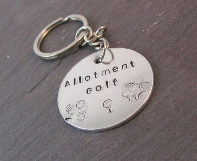 Allotment Golf Keyring, Robert Rankin Keyring, Book Quote Keyring