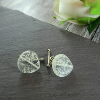 Clear Crackled Quartz Cufflinks with a Hint of Yellow, Clear Cufflinks