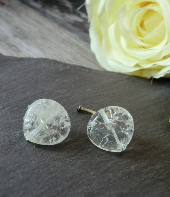 Clear White Crackled Quartz Cufflinks, Clear Cufflinks, White Cufflinks