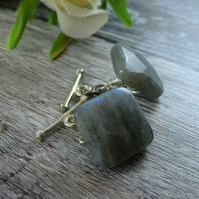 Grey Labradorite Cufflinks, Grey Cufflinks, Gemstone Cufflinks