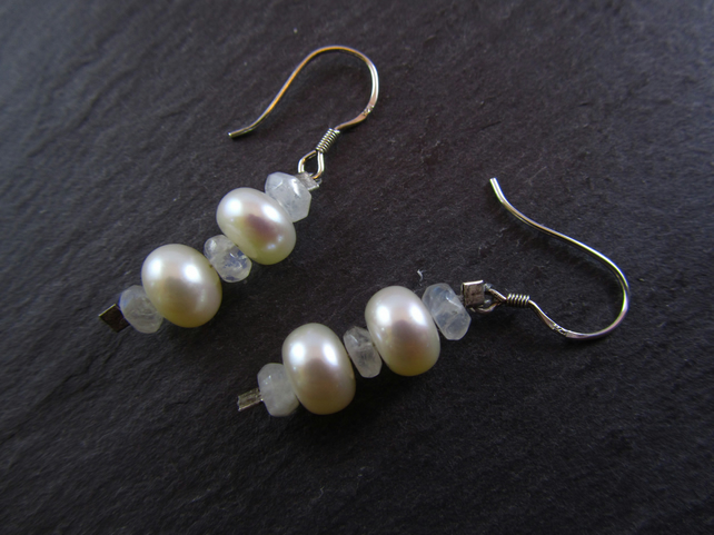 White Pearl Moonstone Earrings