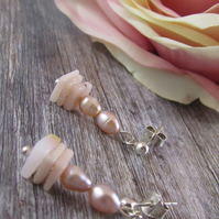 Pink Opal Pearl Silver Earrings