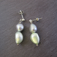 Green Silver Pearl Earrings