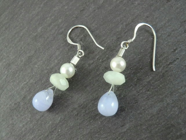 Pale Blue Gemstone Earrings