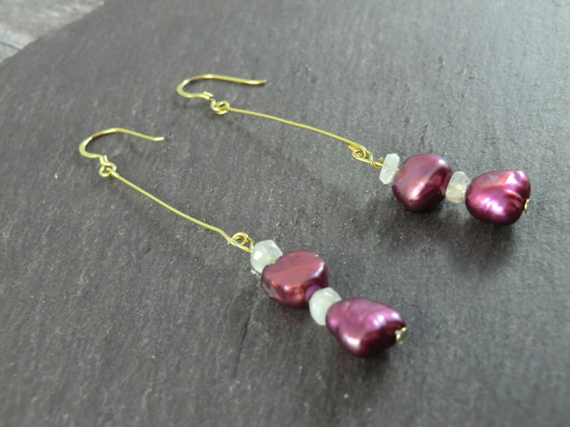 Dark Pink Pearl Moonstone Long Earrings