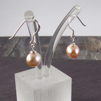 Peach Pearl Silver Earrings