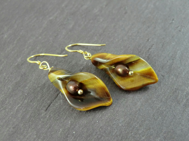 Tiger's Eye Calla Lily Earrings, Brown Flower Earrings