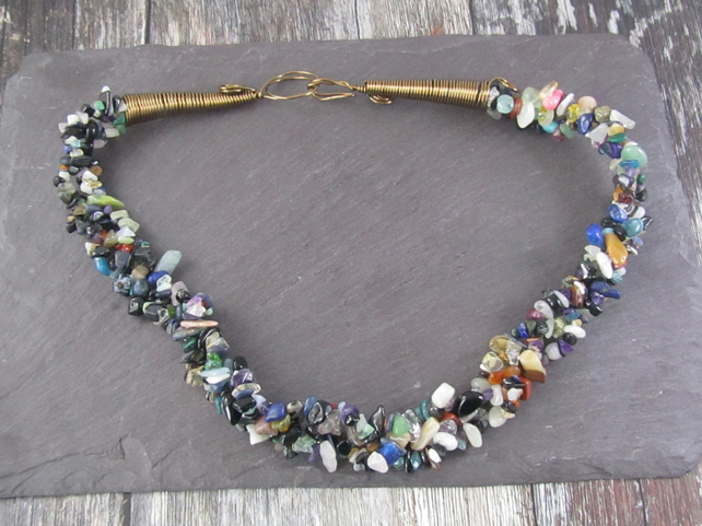 Multicolour Gemstone Statement Necklace