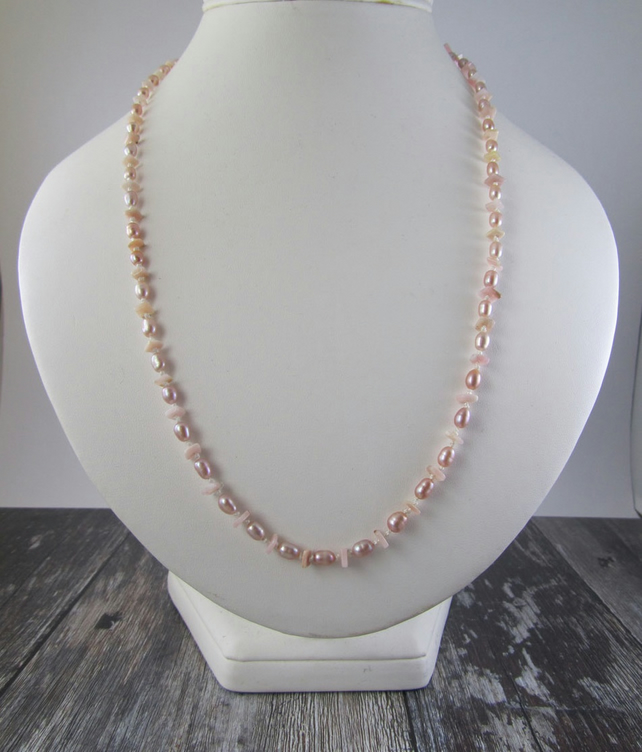 Pink Opal Pearl Knotted Necklace
