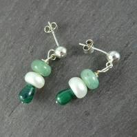 Green Malachite Pearl Earrings