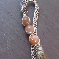 Peach Moonstone Dragon Bookmark, Wire Wrapped Bookmark