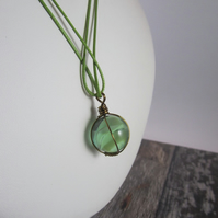 Light Green Marble Pendant Necklace, Marble Necklace, Wire Wrapped Pendant