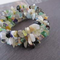 Multi Colour Gemstone Memory Wire Bracelet, Adjustable Bracelet