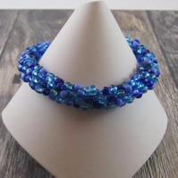 Blue Beaded Kumihimo Bracelet, Blue Bracelet, Blue Beaded Bracelet