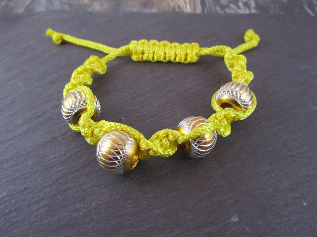 Yellow Macrame Bracelet, Big Bead Bracelet, Adjustable Bracelet
