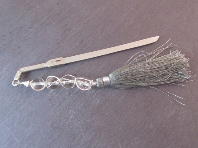 Clear Quartz Sword Bookmark, Wire Wrapped Metal Bookmark