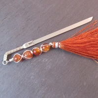 Orange Agate Sword Bookmark, Fantasy Bookmark