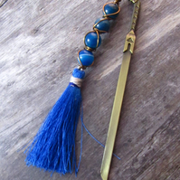 Blue Sword Bookmark, Agate Wire Wrapped Bookmark