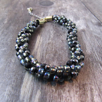 Black Beaded Kumihimo Bracelet, Black Bracelet, Black Beaded Bracelet