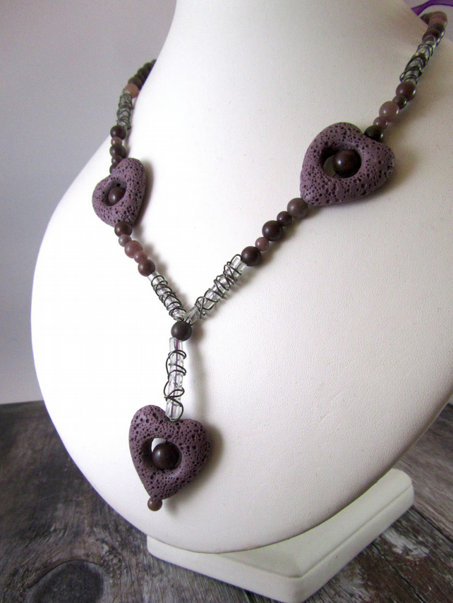 Purple Heart Necklace, Lava Rock Necklace