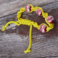 Yellow Red Macrame Bracelet