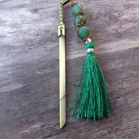 Green Sword Bookmark, Frosted Agate Tassel Bookmark