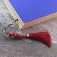 Pink Sword Bookmark, Agate Tassel Bookmark