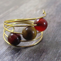 Tiger's Eye Ring, Gold Memory Wire Ring