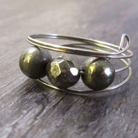 Pyrite Silver Memory Wire Ring, Fools Gold Ring