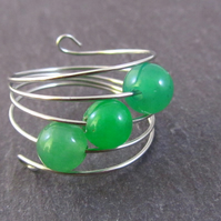 Green Agate Silver Memory Wire Ring, Green Ring