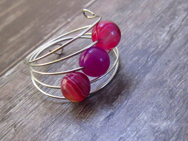 Pink Agate Silver Memory Wire Ring, Pink Ring