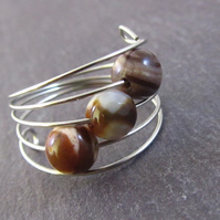 Brown Agate Silver Memory Wire Ring, Brown Ring