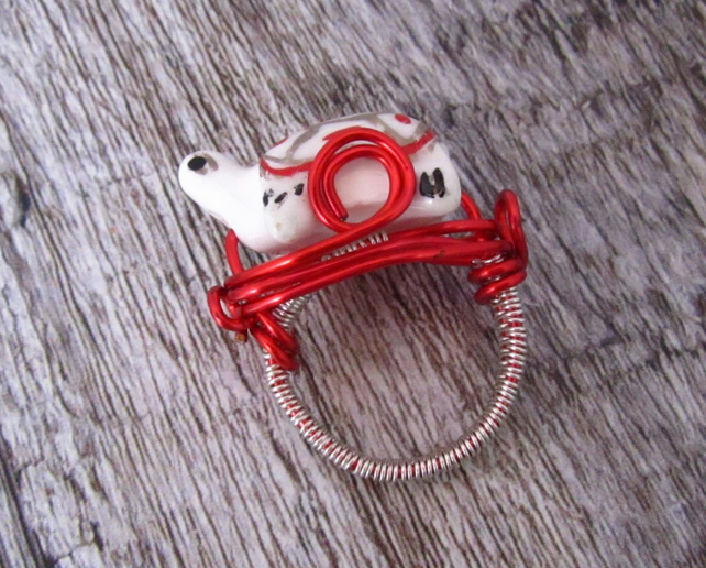 Red Turtle Ring, Turtle Wire Wrapped Ring, Animal Ring