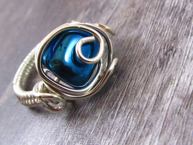 Blue Haematite Wirework Ring, Size O Ring