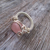 Rose Quartz Ring, Pink Ring, Wire Wrapped Ring,