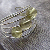 Yellow Quartz Ring, Silver Memory Wire Ring