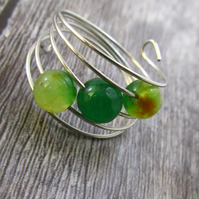 Green Agate Silver Memory Wire Ring, Light Green Ring