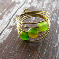 Green Agate Ring, Gold Memory Wire Ring, Green Ring