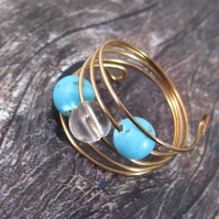 Turquoise Howlite Rose Gold Memory Wire Ring, Turquoise Ring